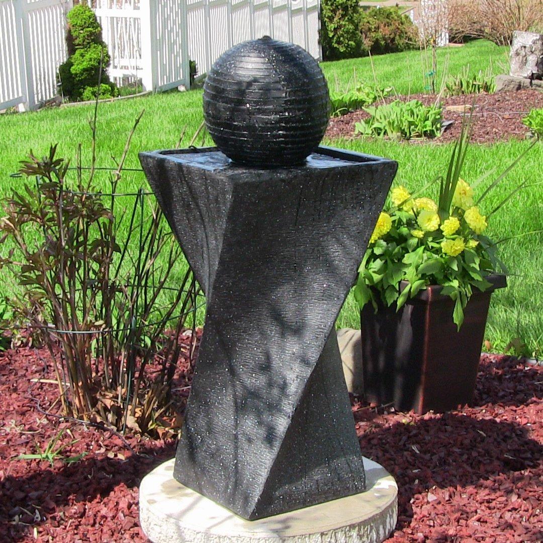 Amazon.com : Sunnydaze Black Ball Solar Power Outdoor Water Fountain ...