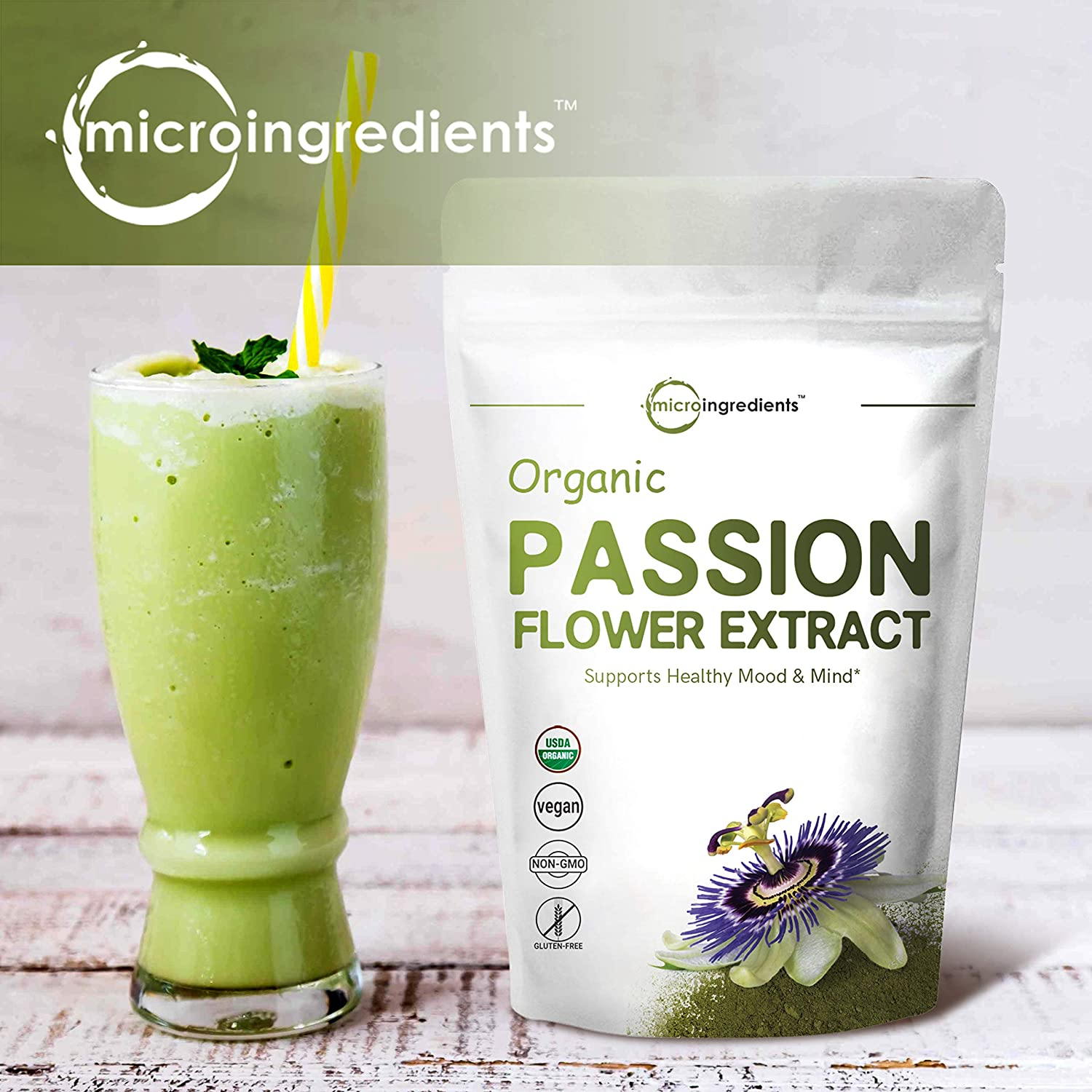 Organic Passion Flower Extract Powder, 8 Ounce, Strongly Supports Stress Relief, Relaxation, Memory