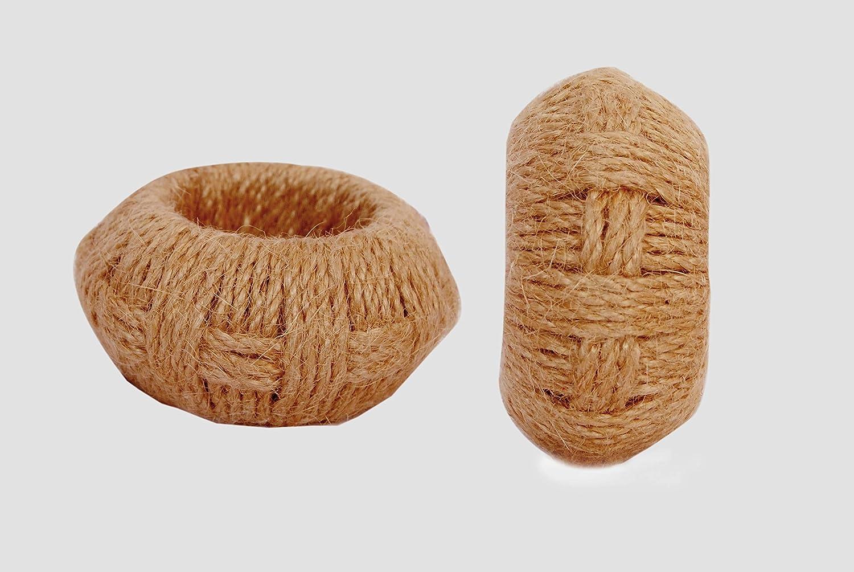 Worldexplorer Classic Braided Natural Eco Friendly Jute Napkin Rings Natural Braided Napkin Rings Pack of 12