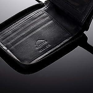 Alpine Swiss RFID Mens Leather Wallet Zip Around ID Card Bifold Black (Color: Zip Around Black, Tamaño: One Size)