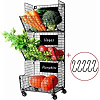 X-Cosrack 3-Tier Wire Storage Basket with Wheel for Kitchen,Fruit, Vegetables, Toiletries, Bathroom Rack(Black)