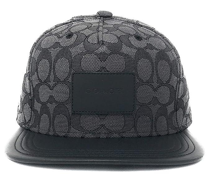 Coach Men s Flat Brim Signature Black Adjustable HAT Cap (F33776 ... aa92f357f44