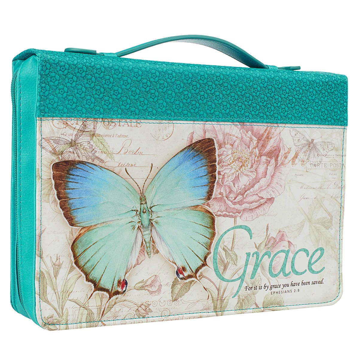 Blue Botanic Butterfly Blessings ''Grace'' Bible / Book Cover - Ephesians 2:8 (Medium)