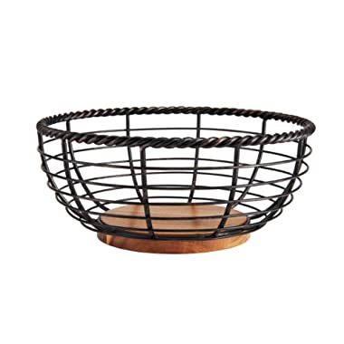 Gourmet Basics by Mikasa 5176766 Rope Centerpiece Fruit Storage Basket, 11 , Antique Black