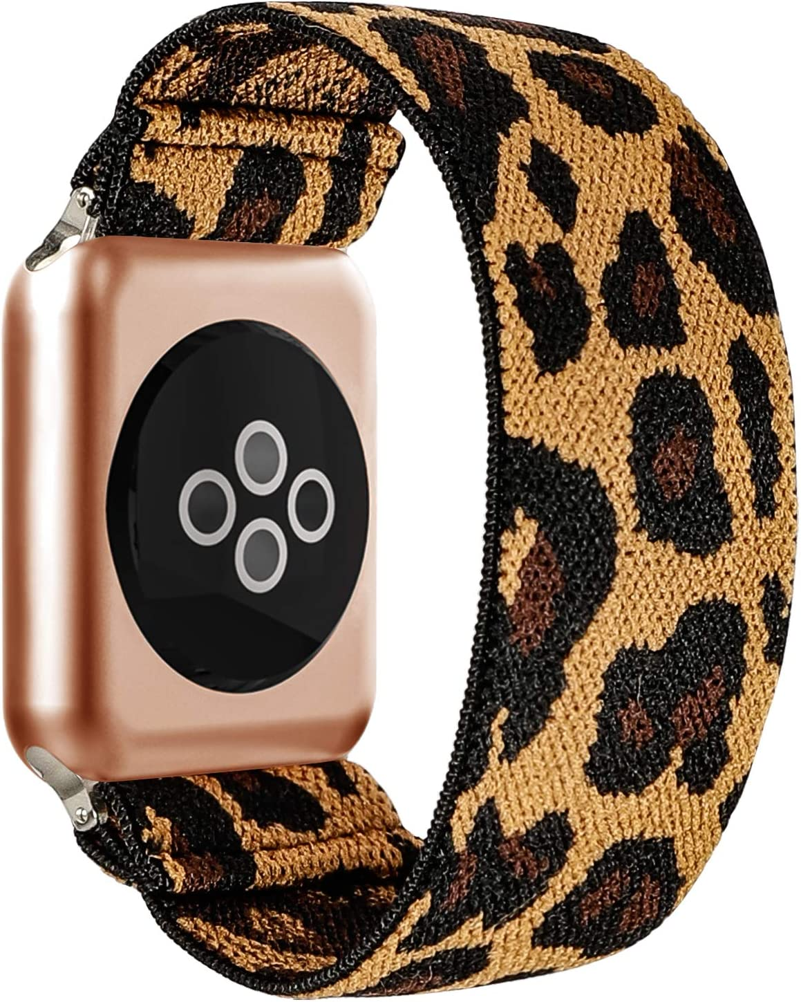 BMBEAR Stretchy Strap Loop Compatible with Apple Watch Band 38mm 40mm iWatch Series 6/5/4/3/2/1 Yellow Leopard
