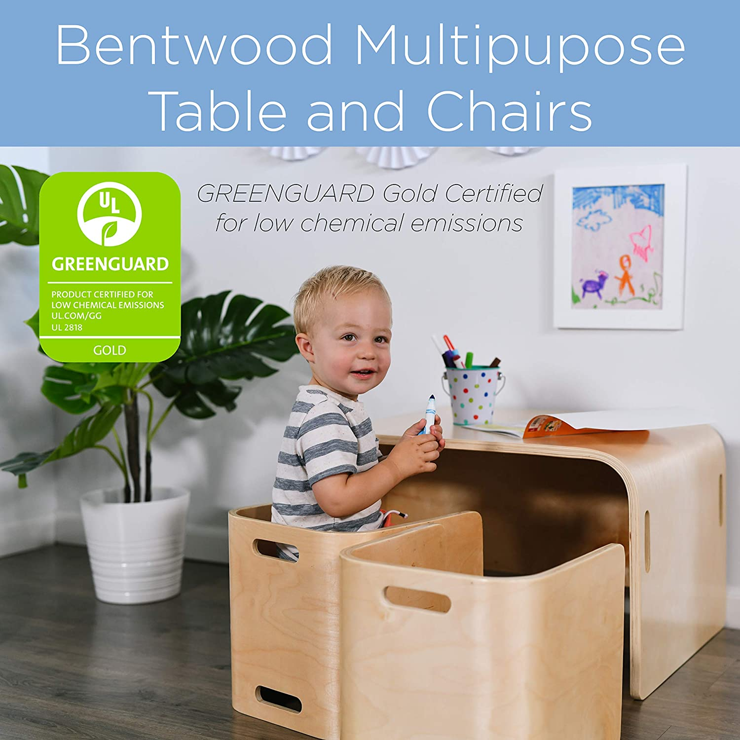 ECR4Kids Natural Bentwood Multipurpose Kids Table and Chair Set 3
