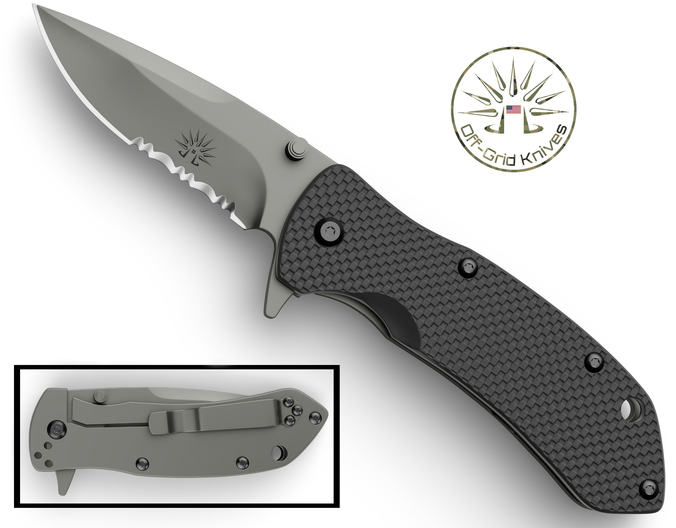 OFF-GRID KNIVES - (OG-808S) All-Day Nano - Compact & Light EDC Pocket Flipper Knife - Frame Lock, Semi-Serrated Japanese AUS8 Blade, G10 Grip, Dual Position Clip - Perfect Fishing Tool