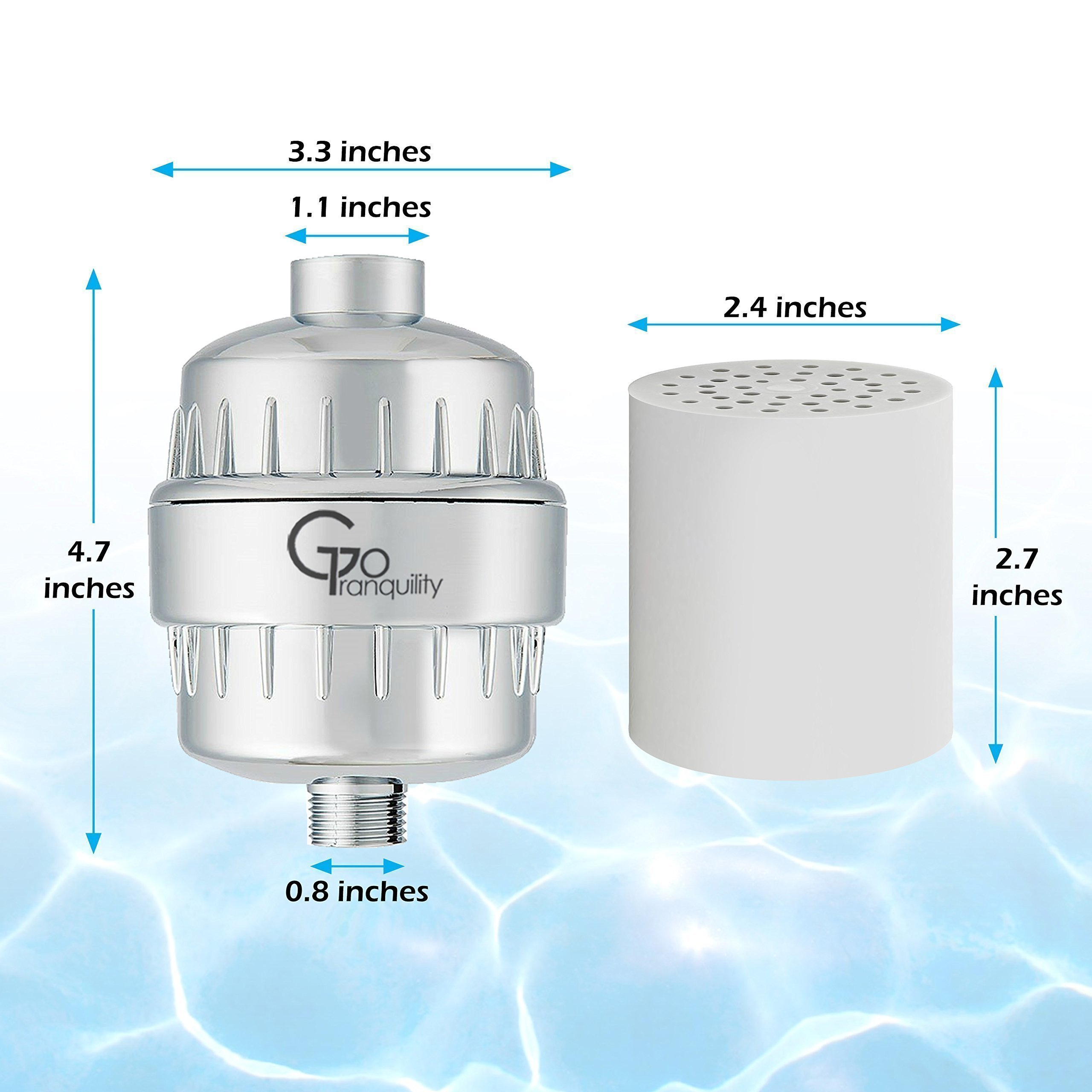 Shower Head Chlorine Filter & Hard Water Softener With Replacement Cartridge Prevents Hair & Skin Dryness Universal Showerhead System by GoTranquility (Image #7)
