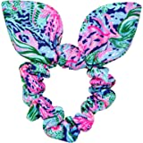 Lilly Pulitzer Blue/Pink/Green Women's Hair Tie Scrunchie with Bow Detail, Bringing Mermaid Back