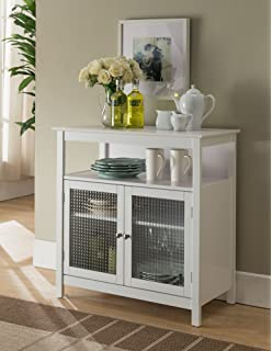 kings brand furniture white finish wood kitchen storage buffet cabinet with glass doors - Cabinet With Glass Doors