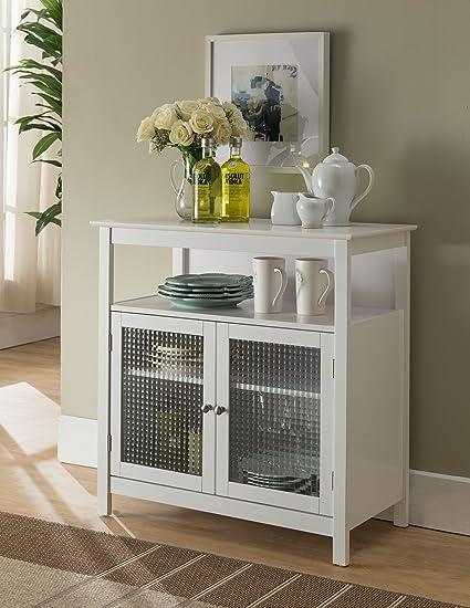 Amazon Com Kings Brand Furniture White Finish Wood Kitchen Storage