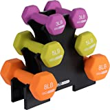 HolaHatha Neoprene Dumbbell Free Hand Weight Set with Storage Rack, Ideal for Home Gym Exercises to Gain Tone and Definition