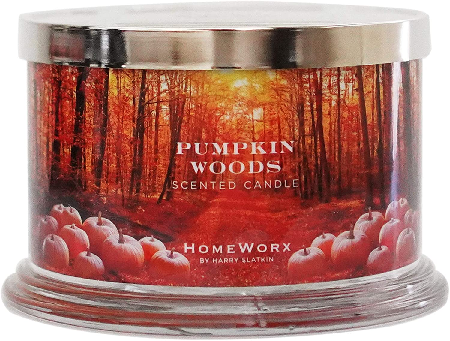 HomeWorx by Harry Slatkin 4 Wick Candle, 18 oz, Pumpkin Woods Multicolor, 18 oz.