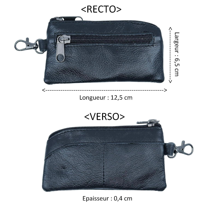 YEHMAN Porte Monnaie Plat Marron en Cuir de Vachette v/éritable avec Porte cl/é avec 2 Poches Zip pour Poche de Pantalon et Veste Homme
