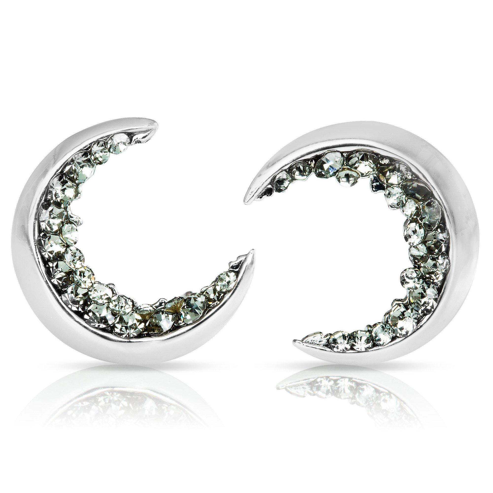 ONDAISY 20G 14K Rhodium Plated Black Cz Boho Gypsy Planet Half Sun Crescent Sailor Luna Moon Ear Studs Piercing Earrings