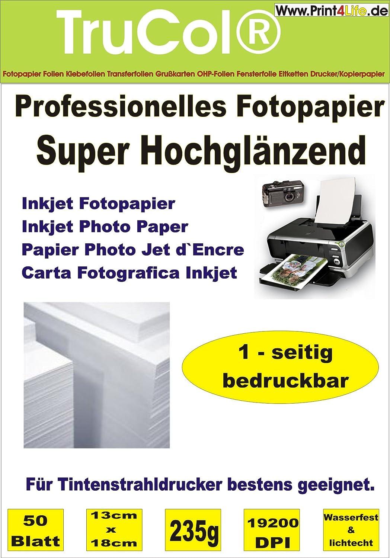 BEIDSEITIG 50 Blatt Fotopapier Photopapier DIN A4 160g /qm - beidseitig glossy (glaenzend) - sofort trocken - wasserfest - hochweiß - sehr hohe Farbbrillianz fuer InkJet Drucker (Tintenstrahldrucker) AC-Concept