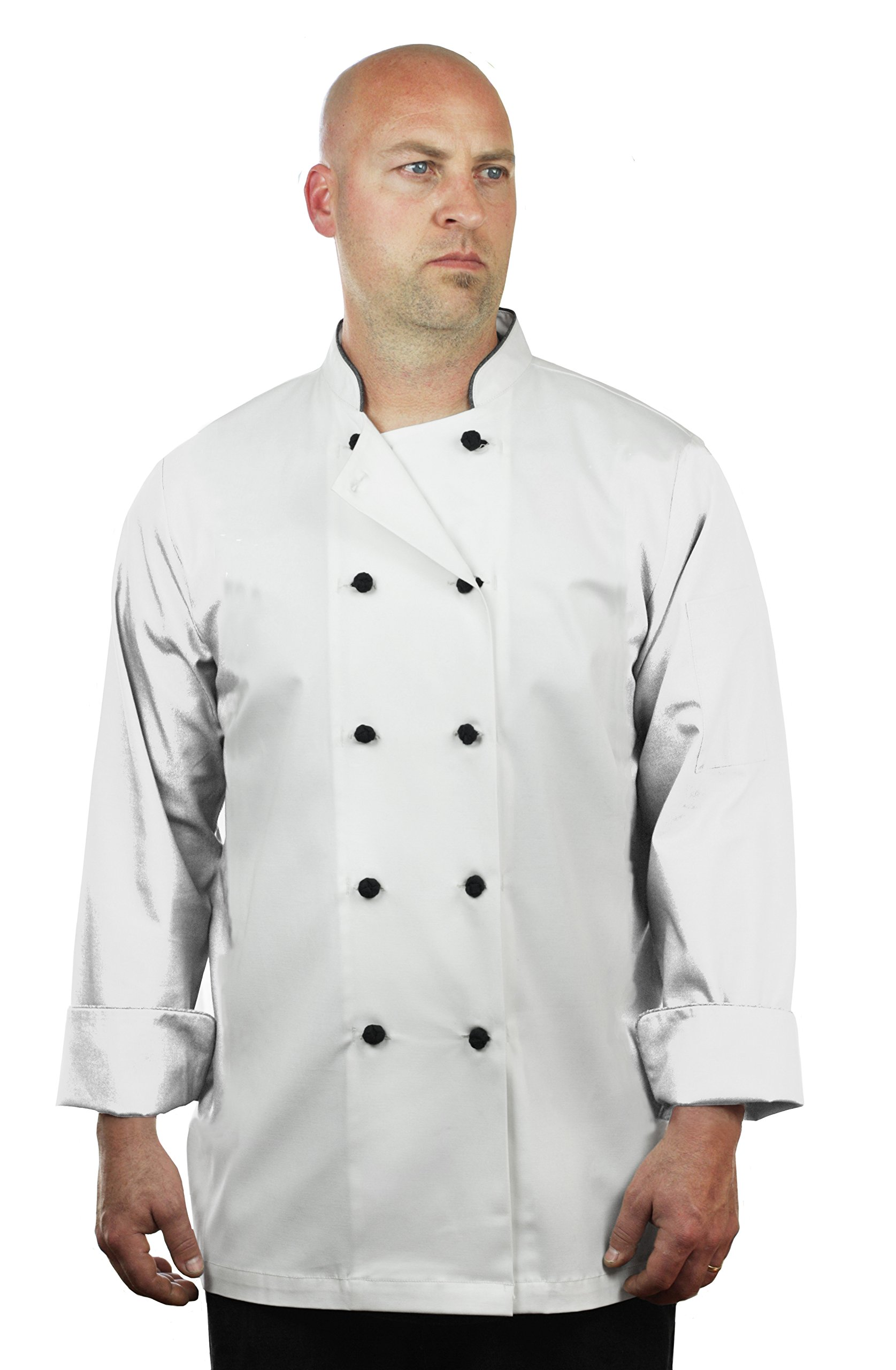 ASD Living Premium Sateen White Long Sleeve Chef Coat,X-Large