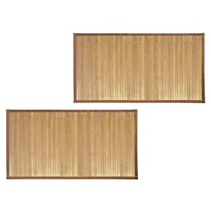 """mDesign Bamboo Rectangular Spa Bath Mat Rug with Fabric Trim - Water Resistant - for Bathroom Vanity, Bathtub/Shower, Entryway - Environmentally Friendly, 21"""" x 34"""" - 2 Pack - Natural Wood Finish"""