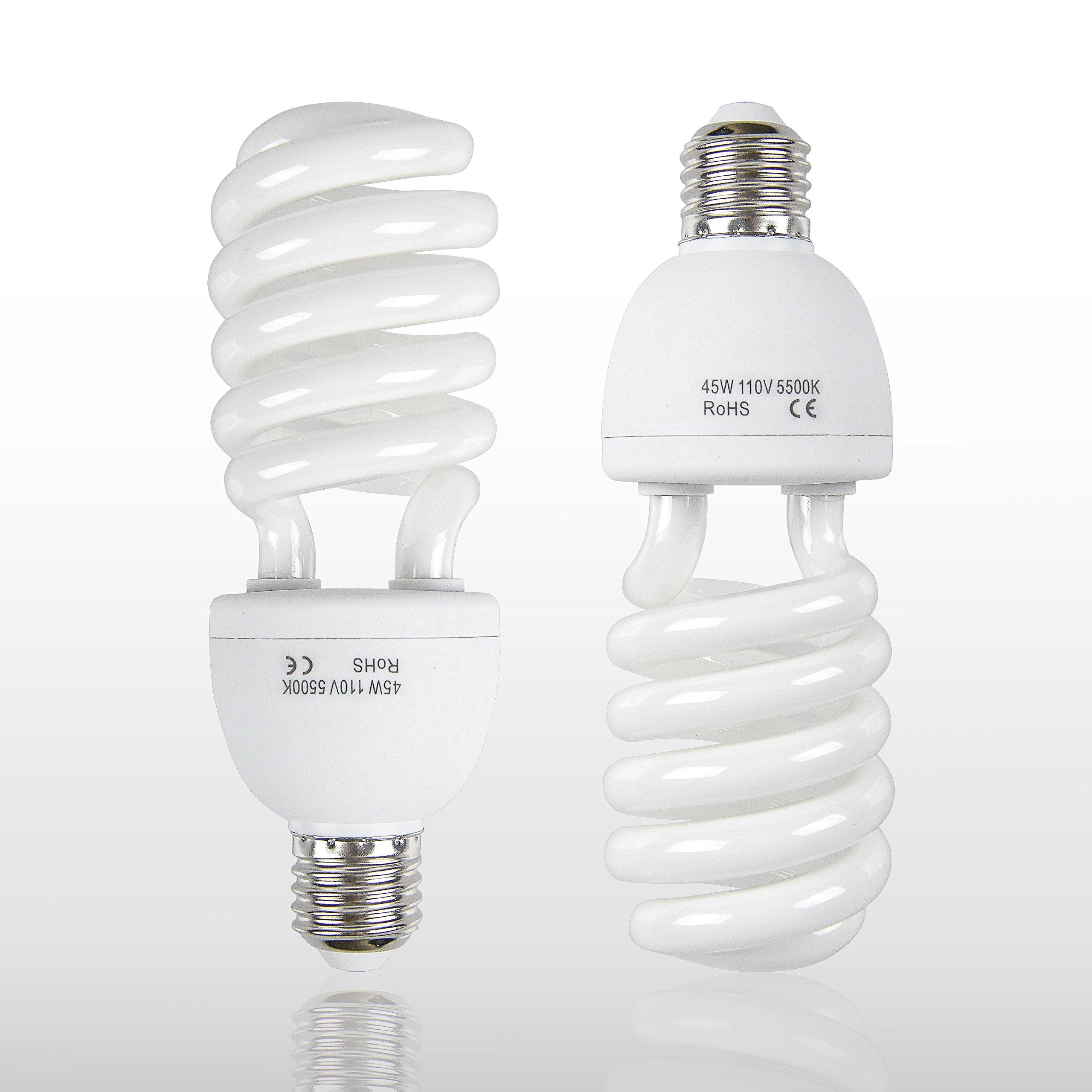 Emart Full Spectrum Light Bulb, 2 x 45W 5500K CFL Daylight for Photography Photo Video Studio Lighting by EMART