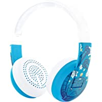 BuddyPhones Wave Wireless Bluetooth Headphones for Kids | Kids Safe Volume Limited to 75, 85 or 94 dB | Foldable & Waterproof | 24-Hour Battery Life | Optional Cable for Audio Sharing | Blue