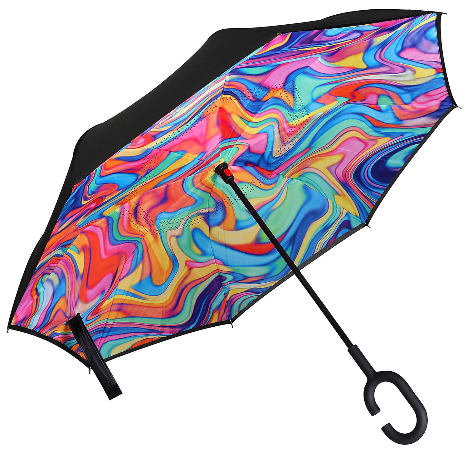 Owen Kyne Windproof Double Layer Folding Inverted Umbrella, Self Stand Upside-Down Rain Protection Car Reverse Umbrellas with C-Shaped Handle (Rainbow Vortex) by Owen Kyne