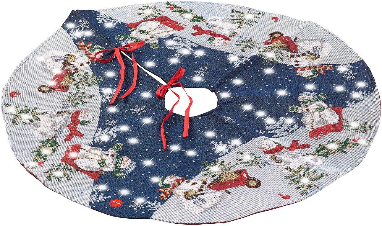 Hleane Weihnachtsbaumdecke Rund Decke Christbaumdecke Baumdecke Tannenbaumdecke Decke f/ür Weihnachten Blau 120cm