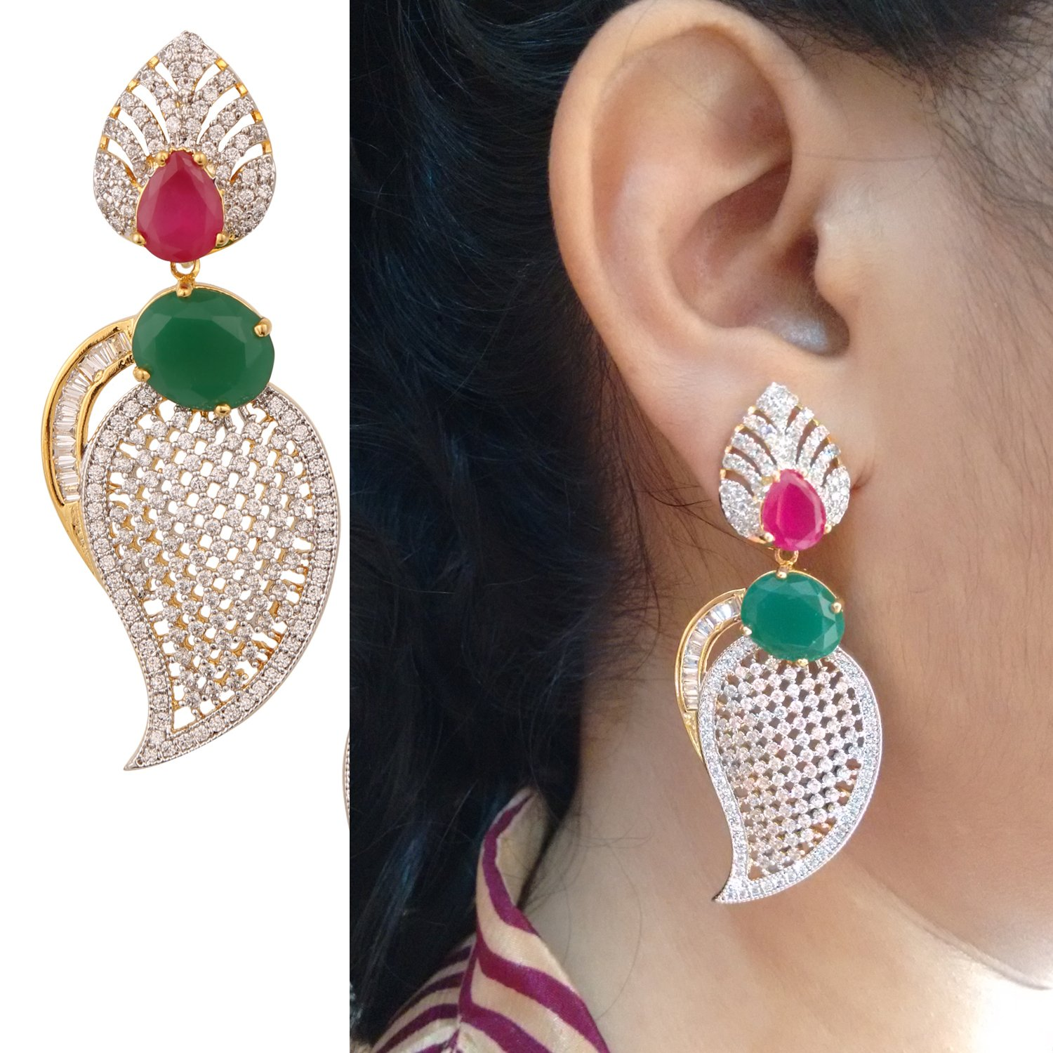 Swasti Jewels American Diamond Cz Traditional Jhumka