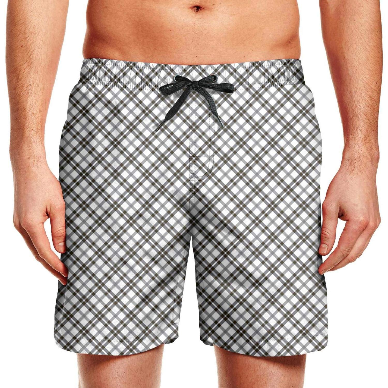 KIENENG Striped Texture Gray Men Swimming Trunks Swim Plus Size Board Shorts