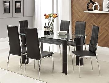 XEOHome - Juego de Mesa de Comedor de Cristal Negro y 6 sillas para ...