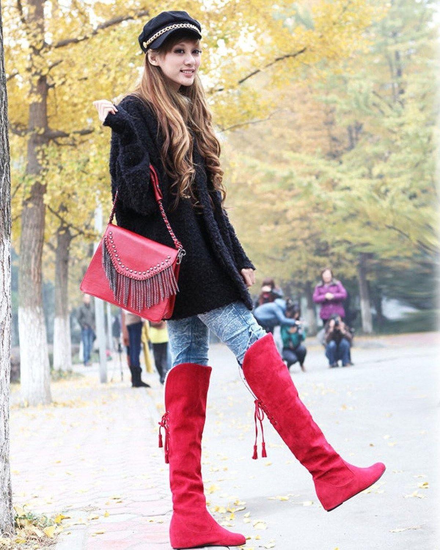 Minetom Femmes Hiver Mode Chaud Bottes De Neige Slouchy Bottes De Fourrure Plat Genou Bottes