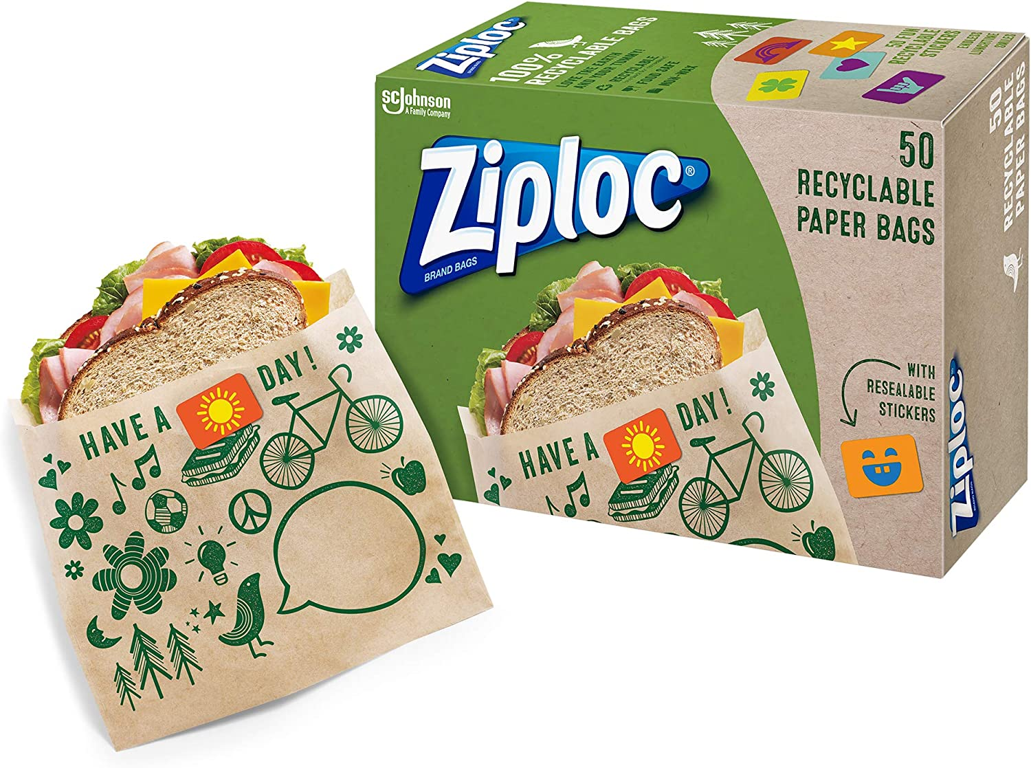 Ziploc Paper Sandwich Bags, Recyclable and Sealable with Fun Designs, 50 Count