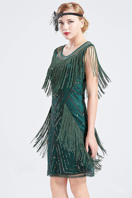 Coucoland 1920s Kleid mit Troddel Stola Damen Gatsby Abendkleid Cocktail Party Damen 20er Jahre Kost/üm Kleid