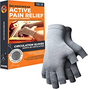 Incrediwear Fingerless Circulation Gloves, Recovery and Performance for Men and Women, Grey, L