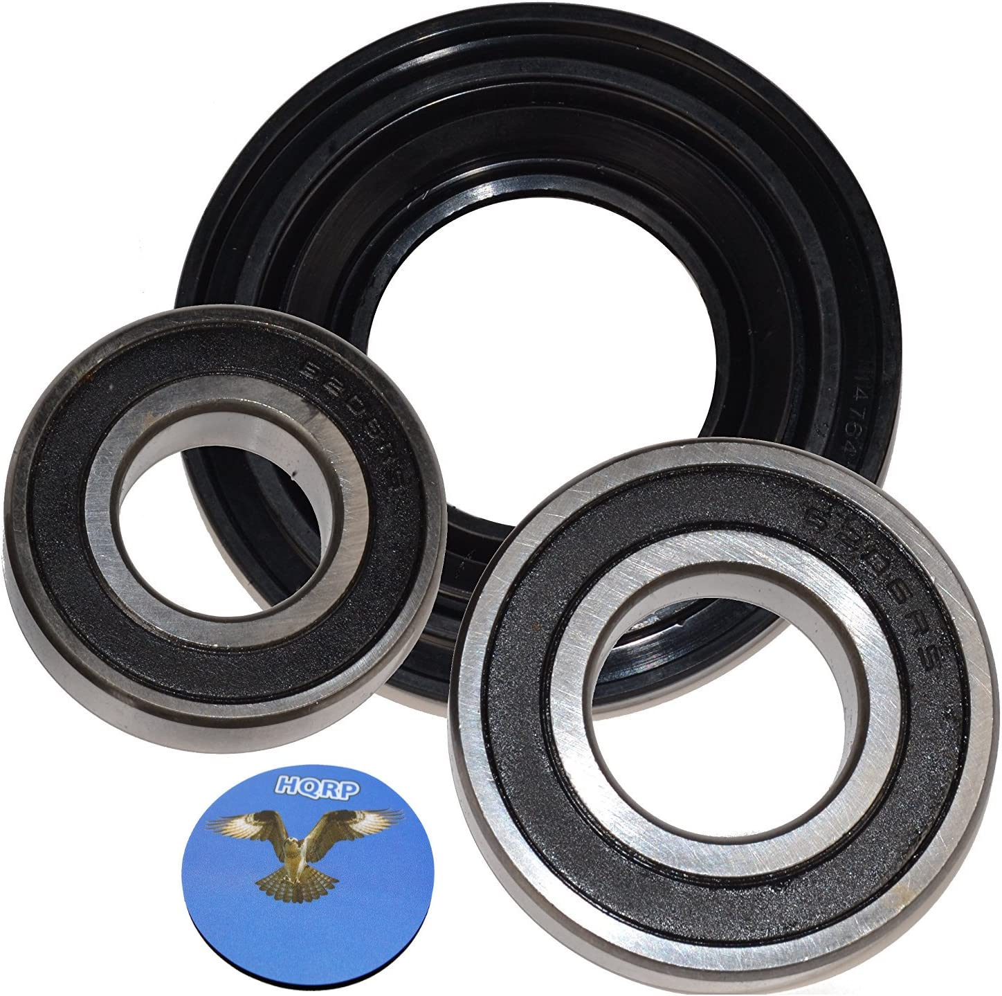 HQRP Bearing and Seal Kit Compatible With Maytag AP3970398 MAH22PDAWW0 MAH22PDAWW1 MAH22PDAXW0 MAH22PRAWW0 MAH22PRAWW1 MHWE200XW00 MHWZ400TQ03 Front Load Washer Tub + HQRP Coaster