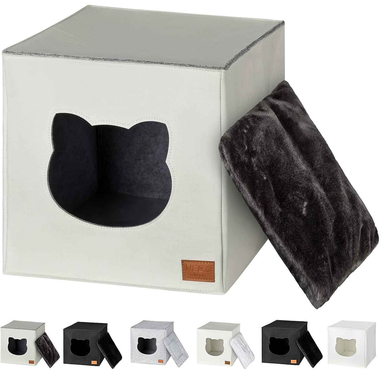 Cama de Gato by Incl. cojín | Casa de Gato Adecuada para IKEA Kallax & Expedit | Cueva Comoda en Gris óptica de Fieltro | Diseño Elegante y Moderno | (Grey ...