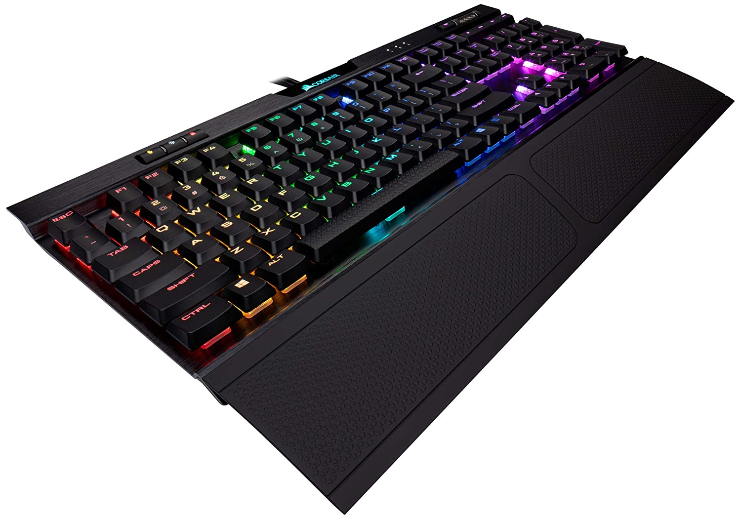 CORSAIR K70 RGB MK.2 RAPIDFIRE Low Profile - Backlit RGB LED - USB Passthrough & Media Controls - Fastest & Linear Low Profile - Cherry MX Speed
