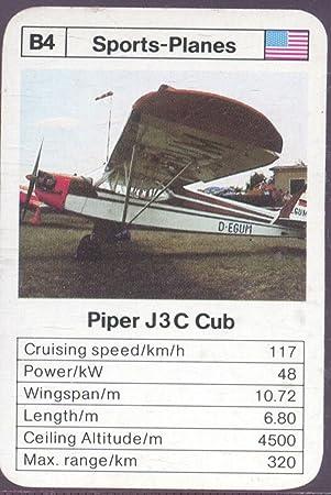 ACE MAXI MINI TRUMP CARD SPORTS PLANES B4 PIPER J3C CUB