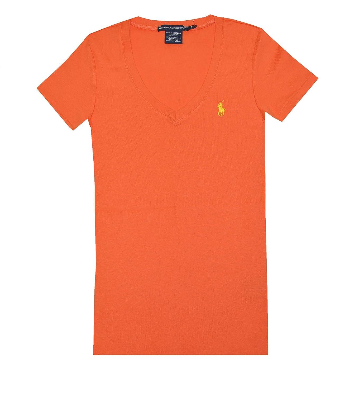 Ralph Lauren Sport Women V Neck Ribbed Pony Logo T Shirt Xs Orange