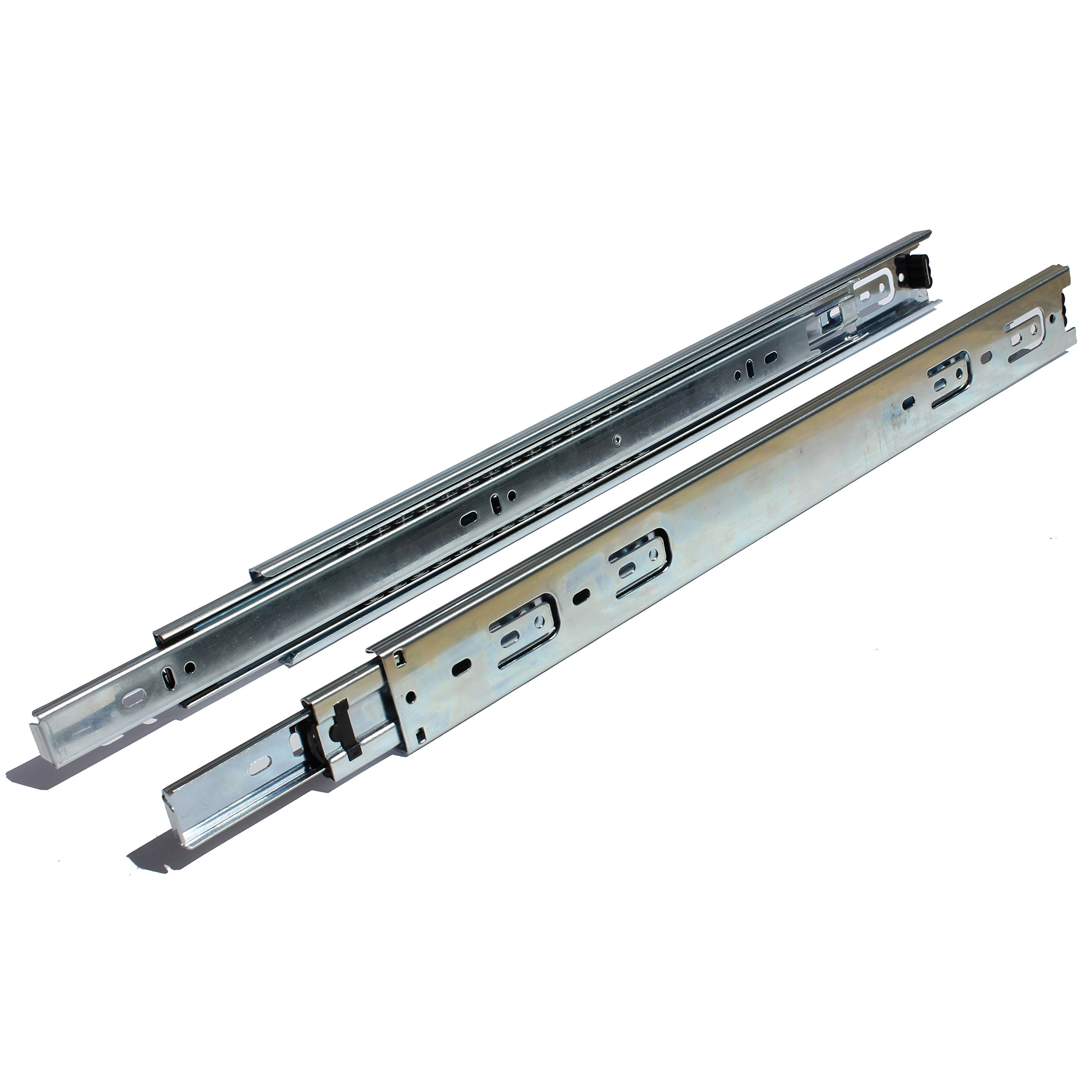 GlideRite Hardware 2870-ZC-1 28 Inch Side Mount Full Extension Ball Bearing Drawer Slides with 1 Inch Over-Travel 1 Pack 28'' 1'', 100 lb, Silver