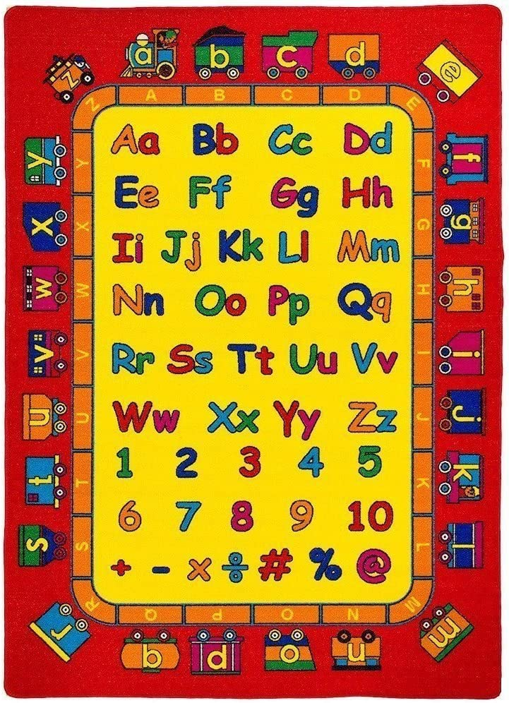 "4/'3/"" x 6/'6/""  Area Rug Educational Kid A to Z Letters  ABC  School Time New 5x7"