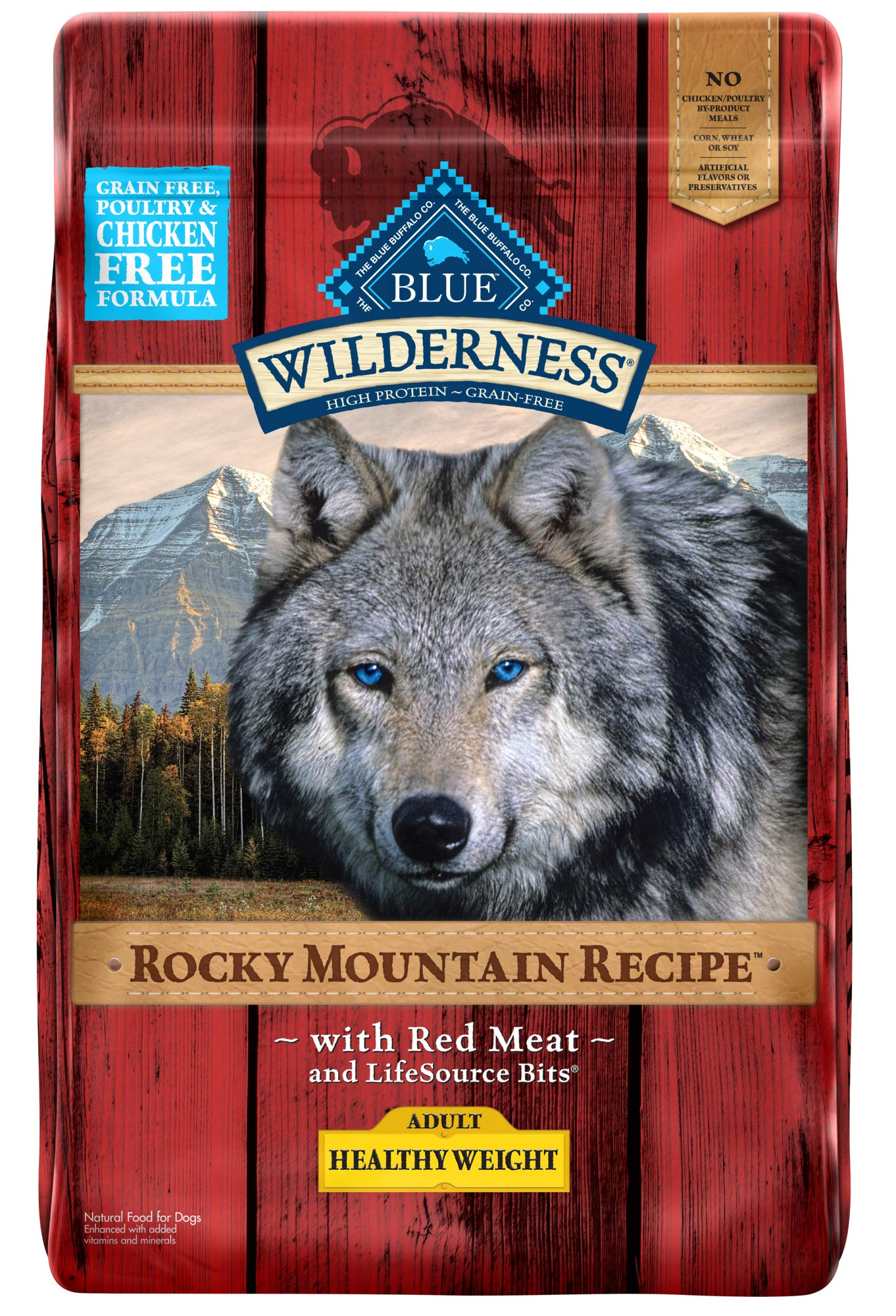 Blue Buffalo Wilderness Rocky Mountain Recipe High Protein Grain Free, Natural Adult Healthy Weight Dry Dog Food, Red Meat 22-lb by Blue Buffalo