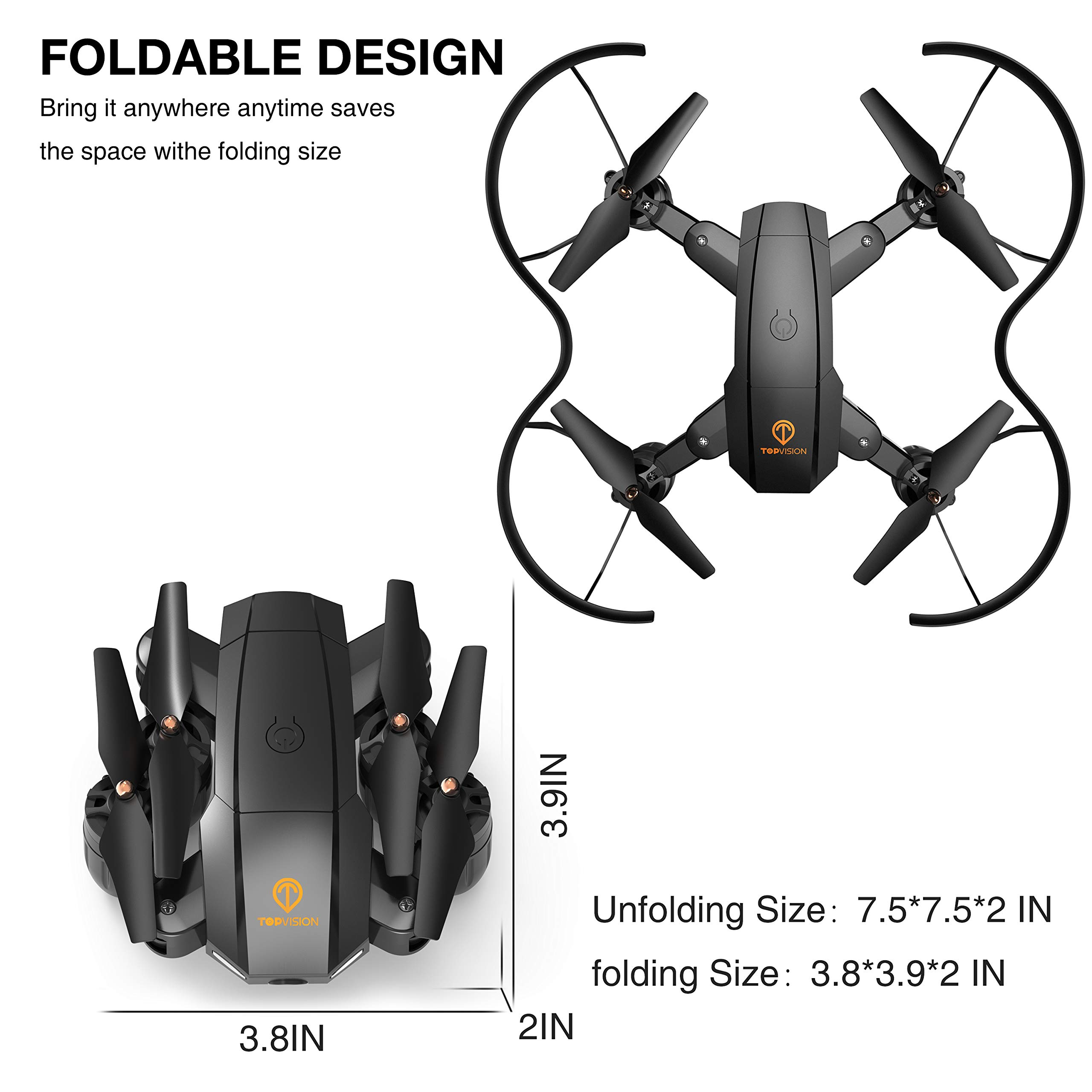 Drone with Camera, TOPVISION Foldable Quadcopter RC Drone with WiFi FPV HD Camera Live Video, Altitude Hold, One Key Start, APP Control, Black by T TOPVISION (Image #8)