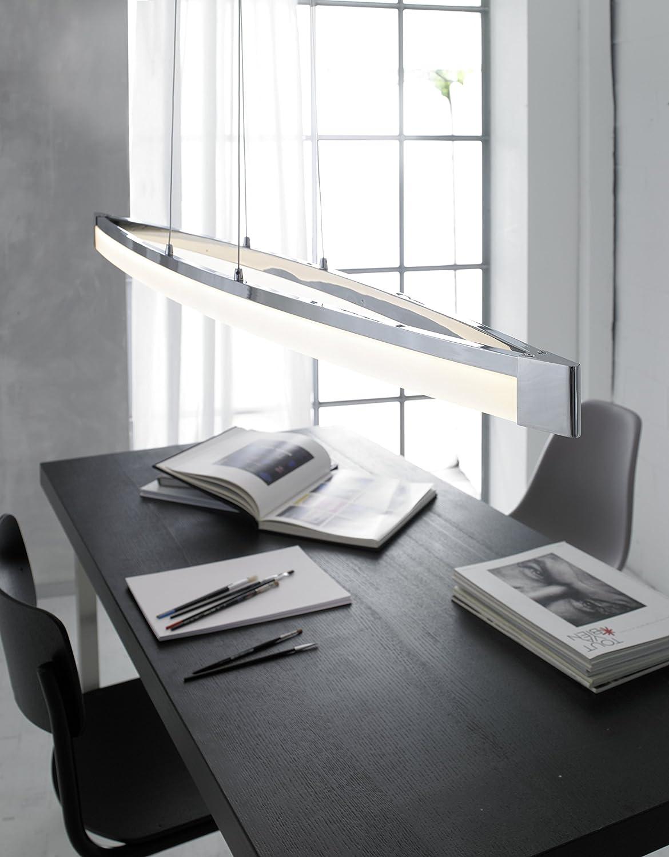 Wofi Vannes 7625.01.01.0000 - Lámpara de techo con 1 foco (1 x LED, 40 W, 14,5 x 127 x 150 cm, 3000 Kelvin, 2600 lúmenes, acabado cromado)