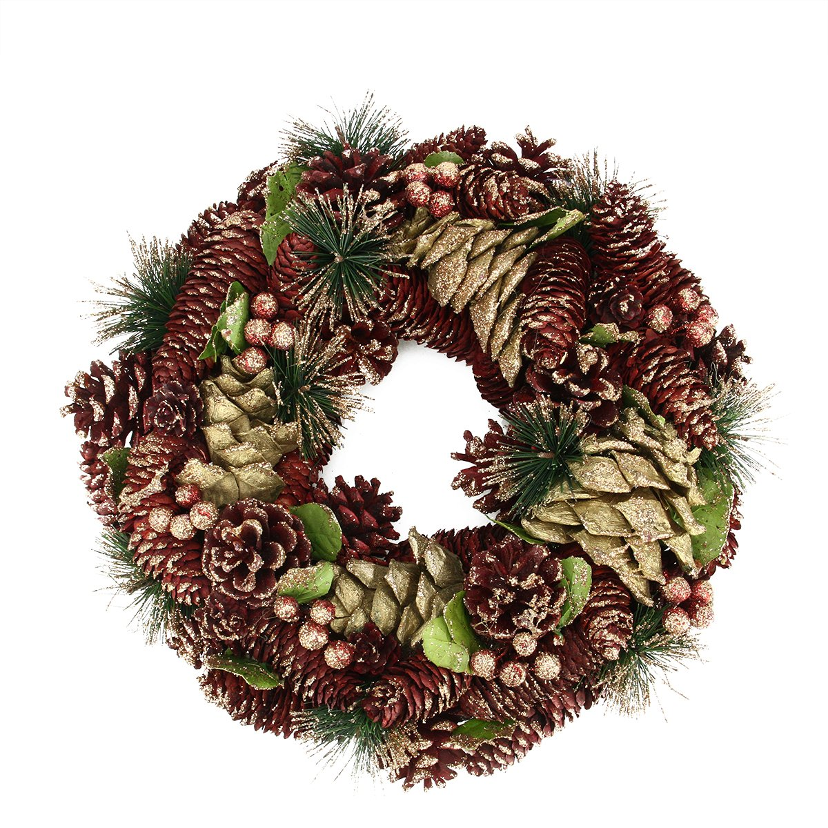 Burgundy/Gold Artificial Pine Cone Berries Christmas Wreath