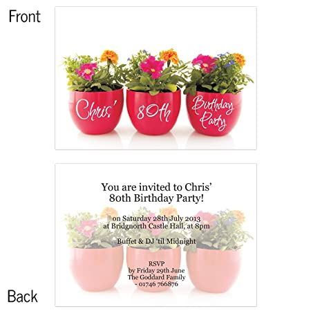 Personalised 80th birthday invitations 3 plant pots pack of 10 personalised 80th birthday invitations 3 plant pots pack of 10 filmwisefo