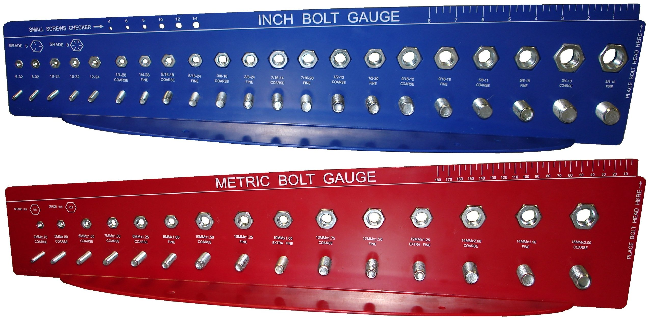 SAE and METRIC Bolt Gauges Check a Thread Nut Fastener Size