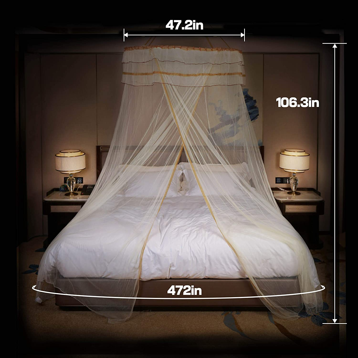 Dimples Excle Ltd Apricot DIMPLES EXCEL Mosquito Net Bed for Double Fine Mesh Material Flexible Steel Roof of 4ft Diameter Popup with Hanging Kit