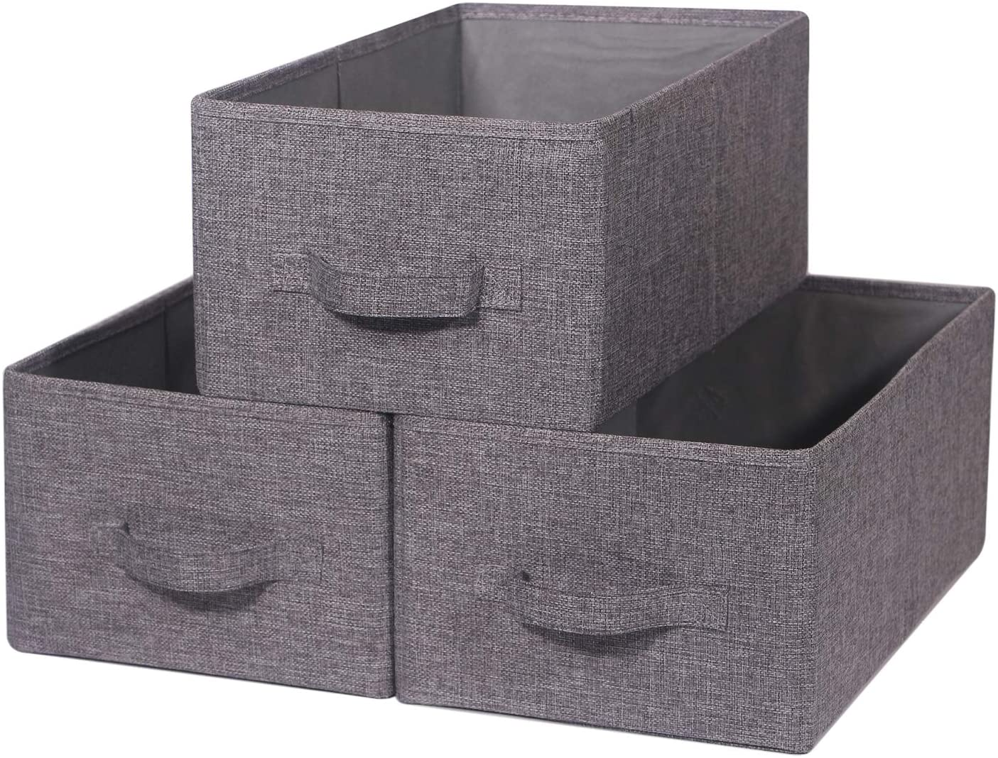 Set of 3 Closet Organizer Bins with Handle, Linen Fabric Foldable Storage Baskets Cloth Box Containers for Shelves Nursery Home Office Kids Toys Baby Clothes Clothing Large