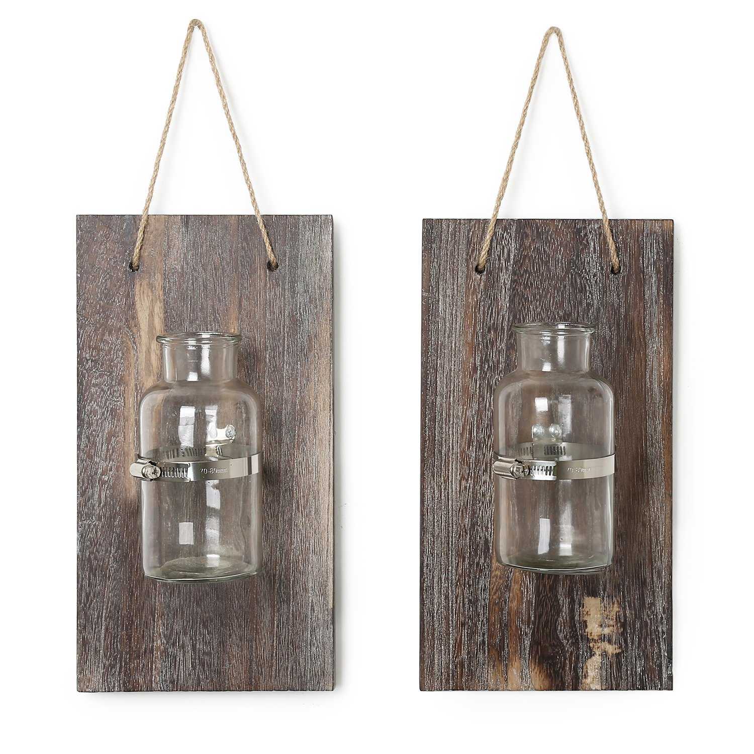 CALIFORNIA CADE ELECTRONIC Mason Jars-Rustic Wall Decor-Home Decor-Vintage Decorative Wall Sconces for Artificial Plant or Anything (2, 12.8X6.8)