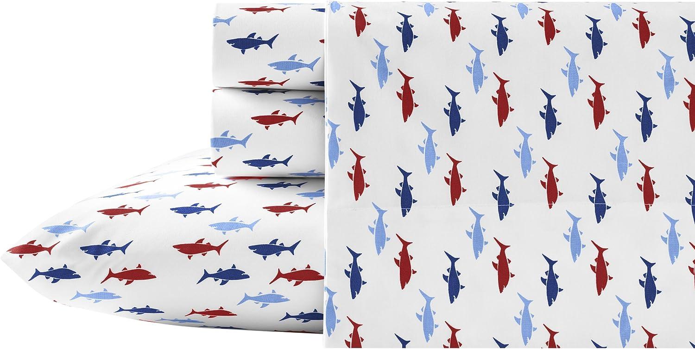 Nautica Costazul Cotton Percale Sheet Set, Queen, Blue/Red